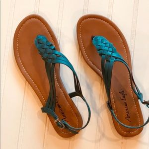 American Eagle Teal Strap Sandal Size 8